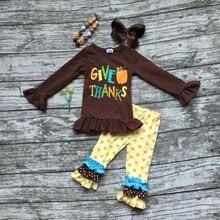 Bébé filles Automne/Hiver thanksgiving vêtements donner citrouille merci tenues enfants brun top avec polka dot pantalon avec accessoires