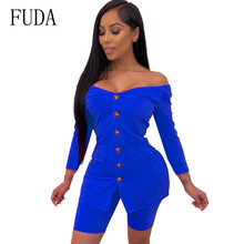 FUDA Bodycon Bandage Playsuits Femme Two Pieces Sets Long Sleeve Botton Jumpsuits Women V-neck Hollow Out Elegant Club Overalls fuda two pieces sets large size 3xl playsuits women bodycon rompers bodysuits short sleeve printed casual summer overalls