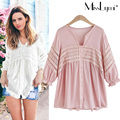 XXXL 4XL 5XL Plus Size Women Blouses 2017 Spring Summer Cute Lace Crochet V-neck Lantern Sleeve Loose Casual Ladies Tops Shirt
