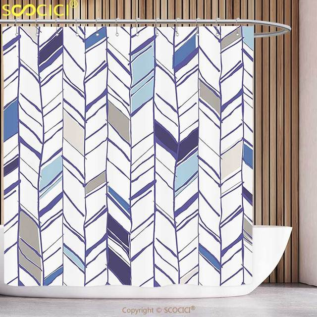 Cool Shower Curtain Navy Tribal Zigzag Lines Pattern In Various Shades Geometric Boho Sketch Print Sky Blue Grey Tan Pearl