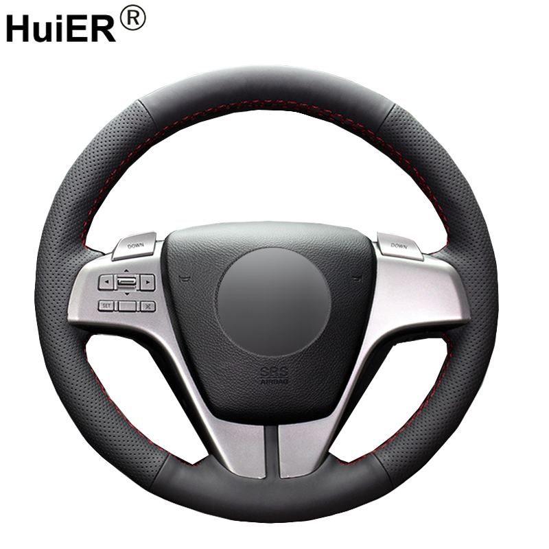 HuiER Hand Sewing Car Steering Wheel Cover Breathable Car Styling Black Leather For Mazda 6 2009 Steering-Wheel Car Accessorie