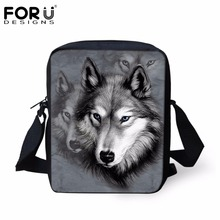 FORUDESIGNS Gray 3D Wolf Animal Women Messenger Bag Woman Cross-body Tote Bags For Girls Student School Mochilas Infantils Mini
