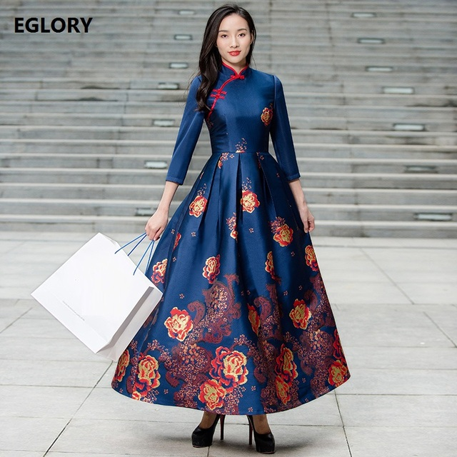 XXXXL Extra Large Clothing Women New Brand Chinese Long Dress 2018 Spring  Autumn Charming Flower Print Vintage Maxi Dress Longo c9eb756357a4