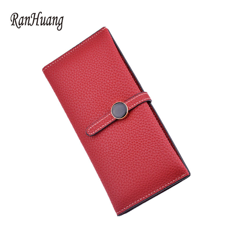 RanHuang 2019 Women Fashion Hasp Wallet Long Design PU Leather Wallet Women's Casual Card Holder Coin Purses porte monnaie A5a