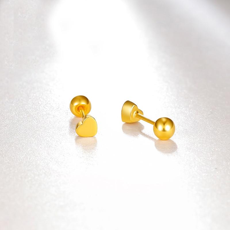 Твердые серьги из желтого золота AU750 женские милые серьги гвоздики с сердечками - 2