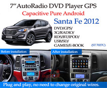 For pure android 4.4 4-core Capacitive Touch Screen Hyundai Santa Fe 2012 Car DVD player GPS with GPS+IPOD+BT+Radio+AUX IN+DVR