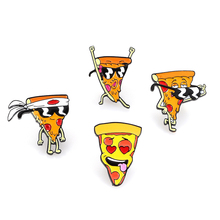 Funny Pizza Man Enamel Pins Cartoon Japan Cool Sunglasses brooches Food Jewelry Gift