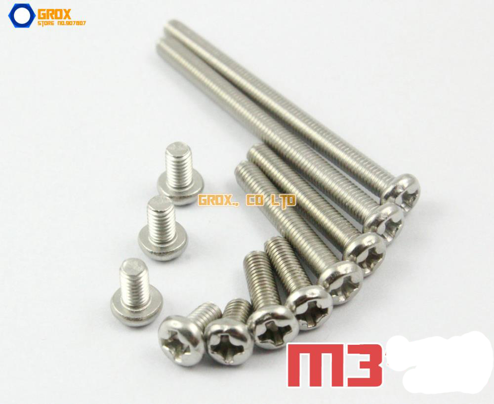 M3 304 Stainless Steel Phillips Pan Head Machine Screw 500pcs lot din7985 stainless steel 304 m3 phillips pan round head machine screw kit m3 5 6 8 10 12