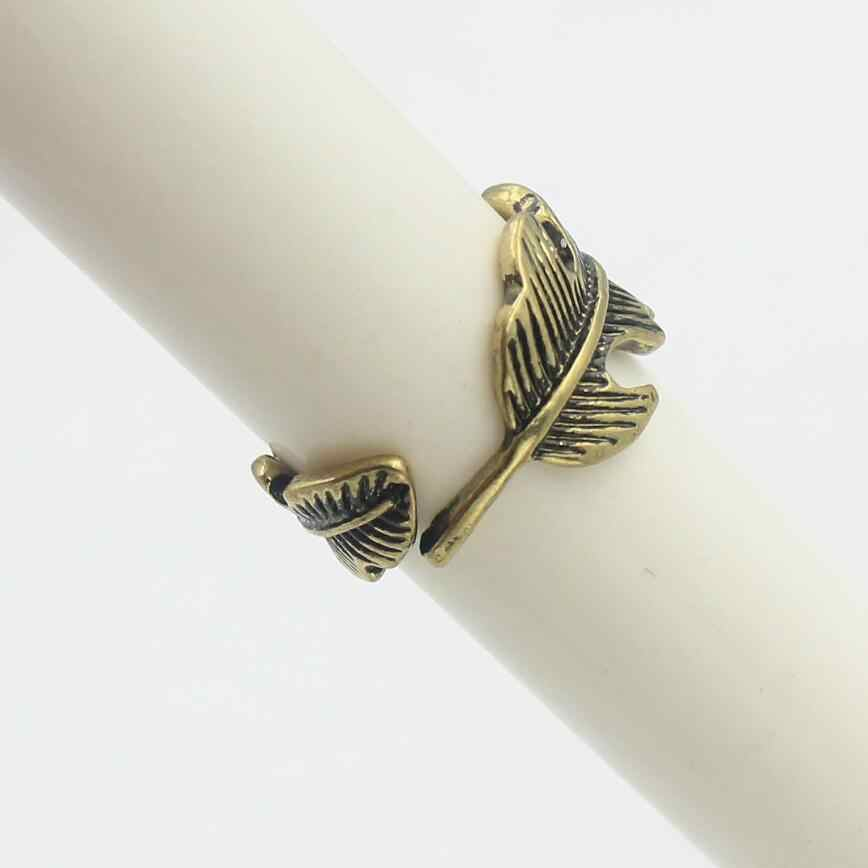 Korean personality leaf feather style rings fashion brief joint rings for women wj209