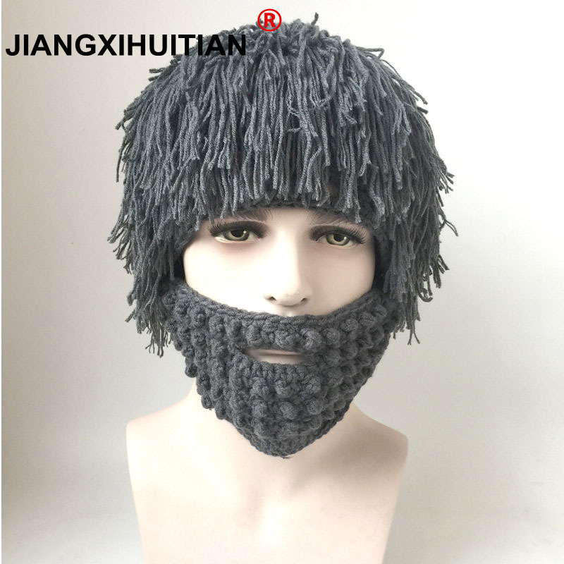 5a75ff9b8e2 Parenting Wig Beard Hats Hobo Mad Scientist Caveman Handmade Knit Warm  Winter Caps Men child Halloween Gifts Funny Party Beanies