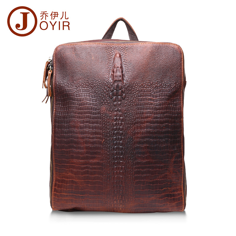 2017 Genuine Leather Men Large Alligator Backpack Cowhide Men Messenger Crossbody Shoulder Bag Travel Bag for Male Bao bao паяльник bao workers in taiwan pd 372 25mm
