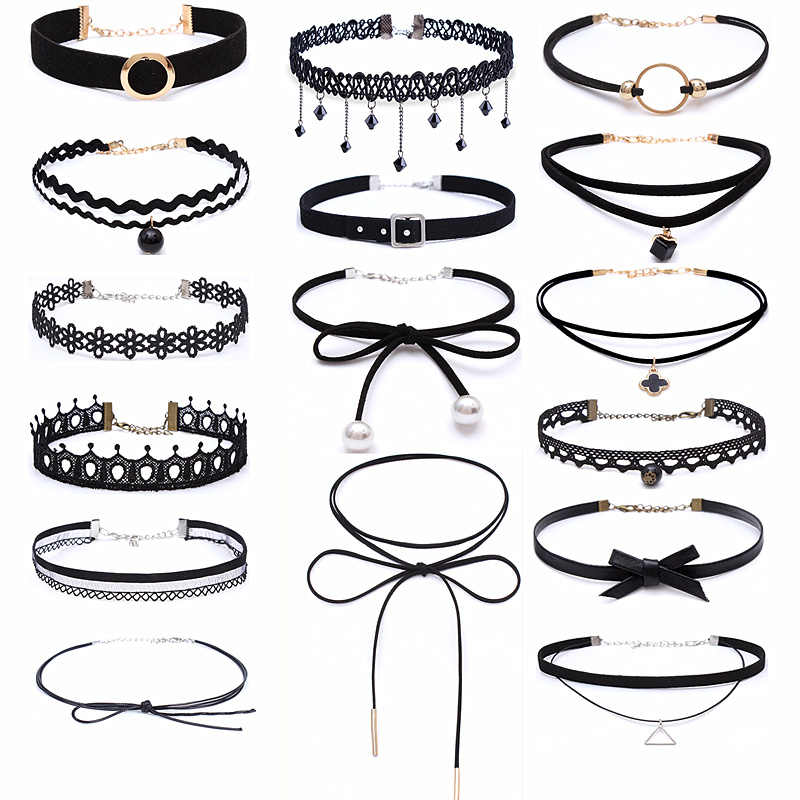 New Gothic Punk Harajuku Black Velvet Suede Lace Crystal Triangle Circle Choker Necklace For Women Jewelry Multilayers Collier