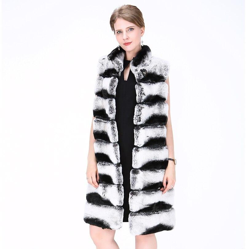 2018 mode véritable lapin fourrure gilet angleterre Style dame Mandarin col naturel lapin peau gilet noir et gris rayé gilet