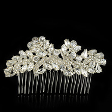 Fashion Crystal Leaf Hair Combs Hairpin Hairpiece Wedding Accessories Bijoux Mariage Bridal Hair Ornament Hair Jewelry for Women