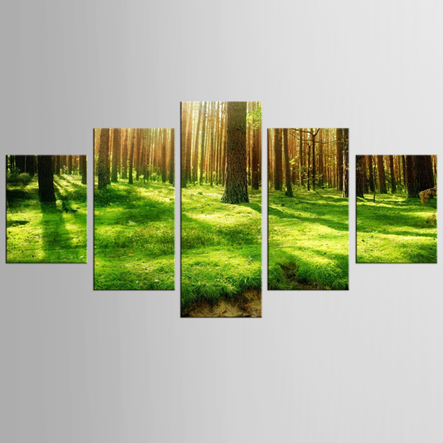 5 pieces of canvas art forest landscape painting custom canvas