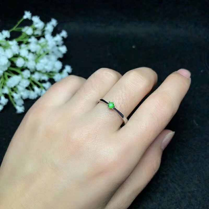 Shilovem 925 סטרלינג כסף טבעי diopside טבעות נשים תכשיטים אופנתיים חתונה להקות חג המולד מתנה bj030303agt