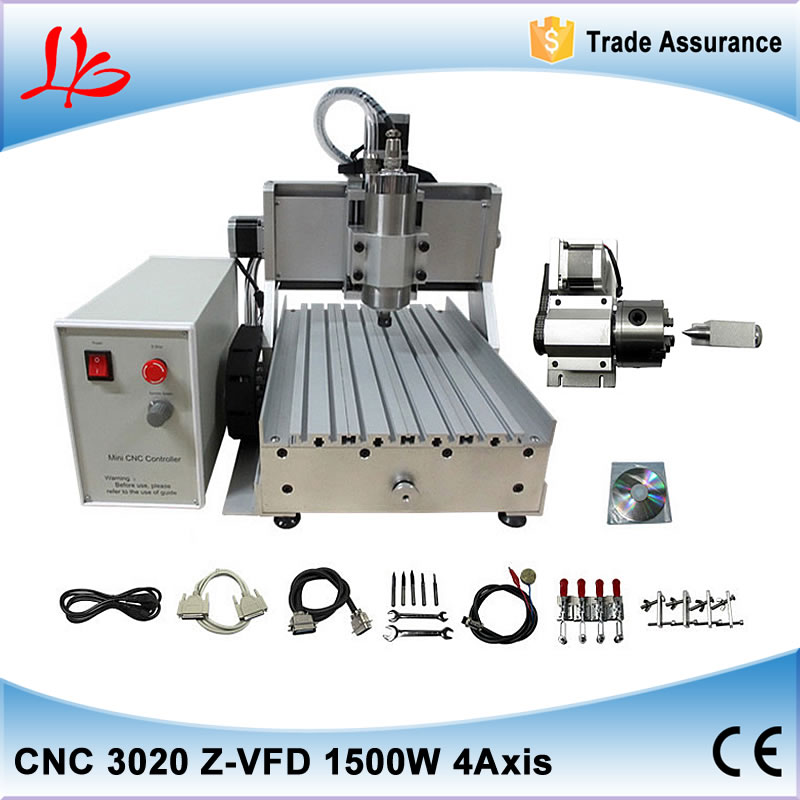 1500W 4 AXIS CNC Router Engraving machine 3020 with ball screw, metal mini milling machine