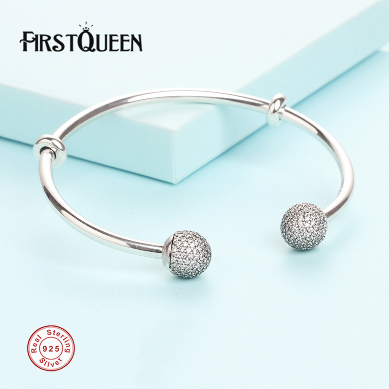 FirstQueen Solid 925 Sterling Silver Open Bangle, Clear CZ Bracelet Fit 4.3mm Charms Beads For Jewelry Making Fine JewelryFirstQueen Solid 925 Sterling Silver Open Bangle, Clear CZ Bracelet Fit 4.3mm Charms Beads For Jewelry Making Fine Jewelry