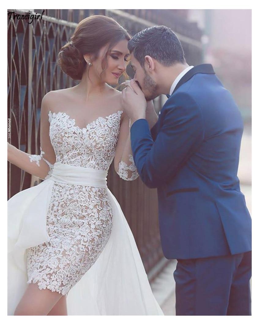 2019 New Princess Wedding Dress Appliqued Detachable Train Wedding Gown Long Sleeves Boho Free Shipping Bride Dress