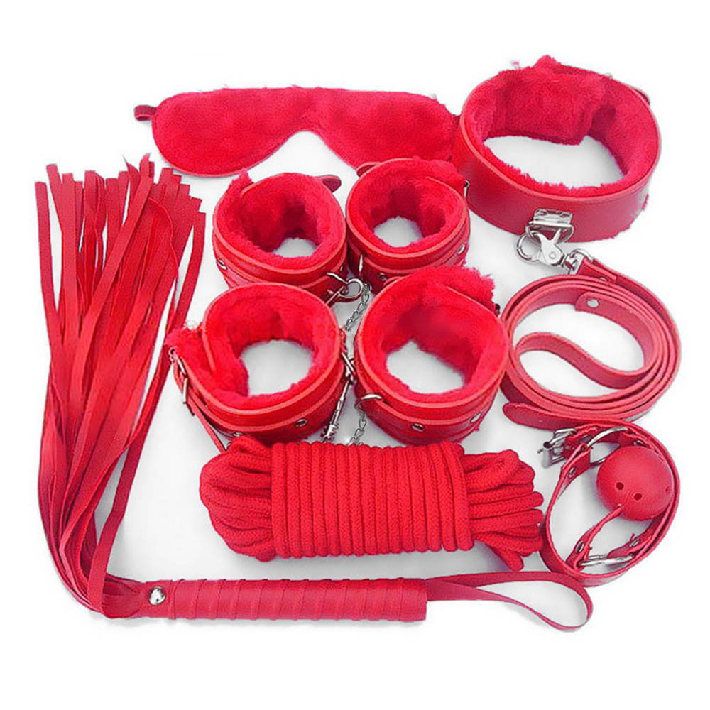Hot Sexy Lakleer Volwassen Bondage Terughoudendheid Kit Speciale Paar Speelgoed Handboeien Kraag Zweep Roze Zwart Rood 7 Stuk Lingerie Set