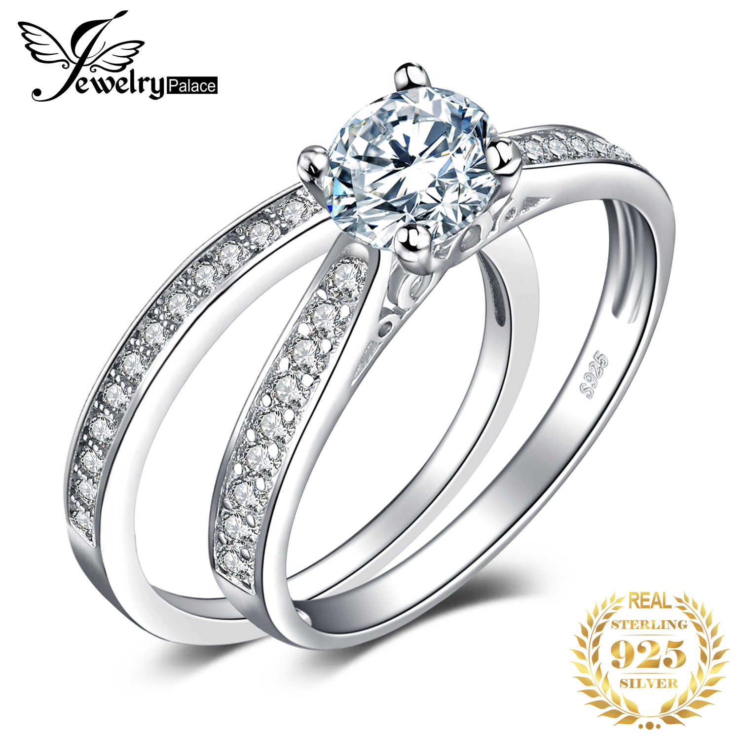 JewelryPalace 1.3ct Cubic Zirconia Engagement Rings Wedding Bands 925 Sterling Silver Bridal Sets Anniversary Gifts for Women