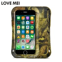 LOVE MEI Camouflage Small Waist Metal Armor Case for Iphone 7 8 Plus Powerful Dropproof Defender Case for Iphone 8 8Plus 7 7plus