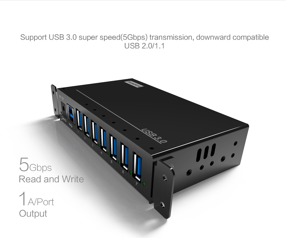 Charging Hub Portable 7 ports USB Charger HUB with 12V 3A power adapter