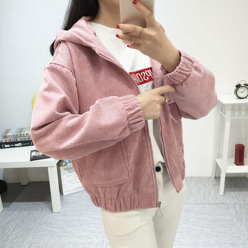 2019 Spring Women Hooded Corduroy Jacket Basic Long Sleeve Slim Jacket Women Fashion Loose Short Jacket Coat Female Outerwear