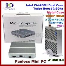 Встроенный безвентиляторный мини промышленный ПК, неттоп с 8 ГБ Оперативная память + 1 ТБ HDD Core i5 4200U, 2 * COM RS232, 4 * USB3.0, HDMI, настольных ПК