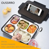 Leakproof Lunch Box Food Containers with Compartments 304 Stainless Steel Lunchbox Office School Kids Bento Box with Spoon W2942
