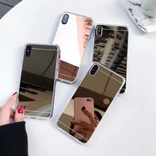 Fashion Rose gold Luxury Mirror Glitter Bling Flash Case For iPhone 7 6 6S Plus 5 5s SE 8 X XS MAX Soft Clear TPU Phone Cover