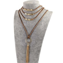 DANZE Boho Multilayer Imitation Leather Choker Necklace For Women Vintage Long Alloy Tassel Necklaces & Pendants Collares Mujer