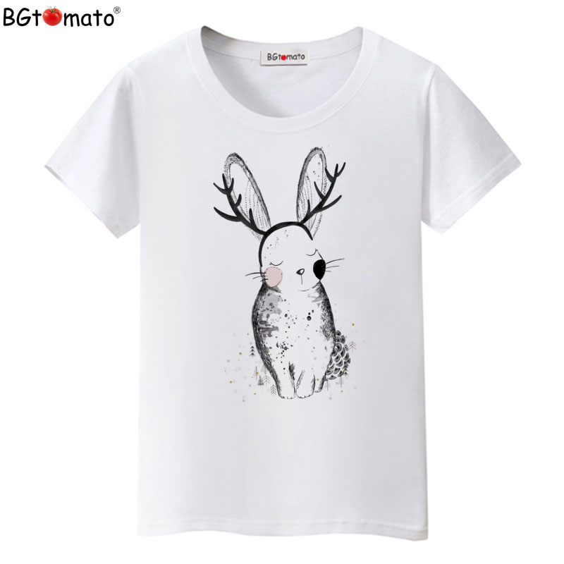 Bgtomato t-shirt printing in the material Never fade colorful shirt brand new good quality casual top lovely rabbit shirt
