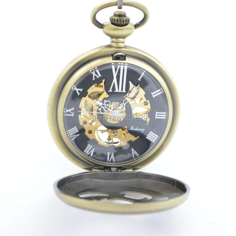 b812eb1a8d9 Caso oco Mostrador Preto Número Romen Skeleton Vento Mão Mecânica Mens  Relógio de Bolso Bronze Tone H206
