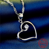New Arrivals Love Necklace 925 Sterling Silver Women Charm Necklace Heart Fashion Silver AAAA Zircon Pendant
