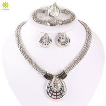 New Designer African Fashion Costume Rhinestone Necklace Sets Silver Plated Wedding Bridal Costume Jewelry Sets