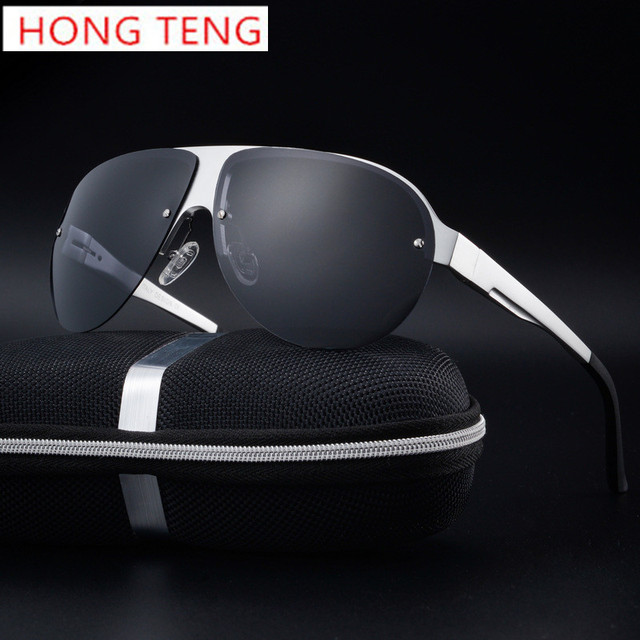 Hong Teng New Arrivals Brand Designer Rimless Polarized Lens Driver Men Sunglasses with Box Free Shipping