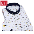 Printed Shirt Men Cotton Casual Mens Social Shirts White Collar Short Sleeve Slim Fit Fashion Shirts With Diamond Buttons X143