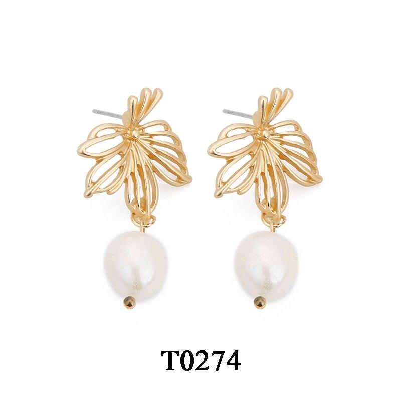 T0104A,复古淡水珍珠耳环,大约2X3.2cm,镂空花卉