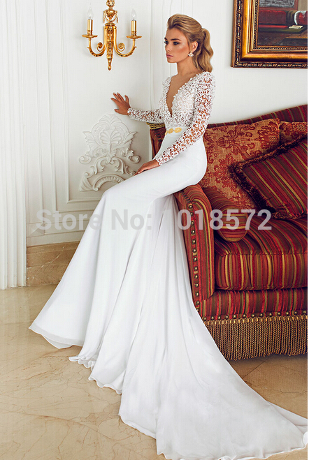 Hot2017 Y Wedding Dress Long Sleeve Deep V Neck Lace Chiffon Train White Ivory Glamorous Bridal Gown Princess Formal Dre In Dresses From