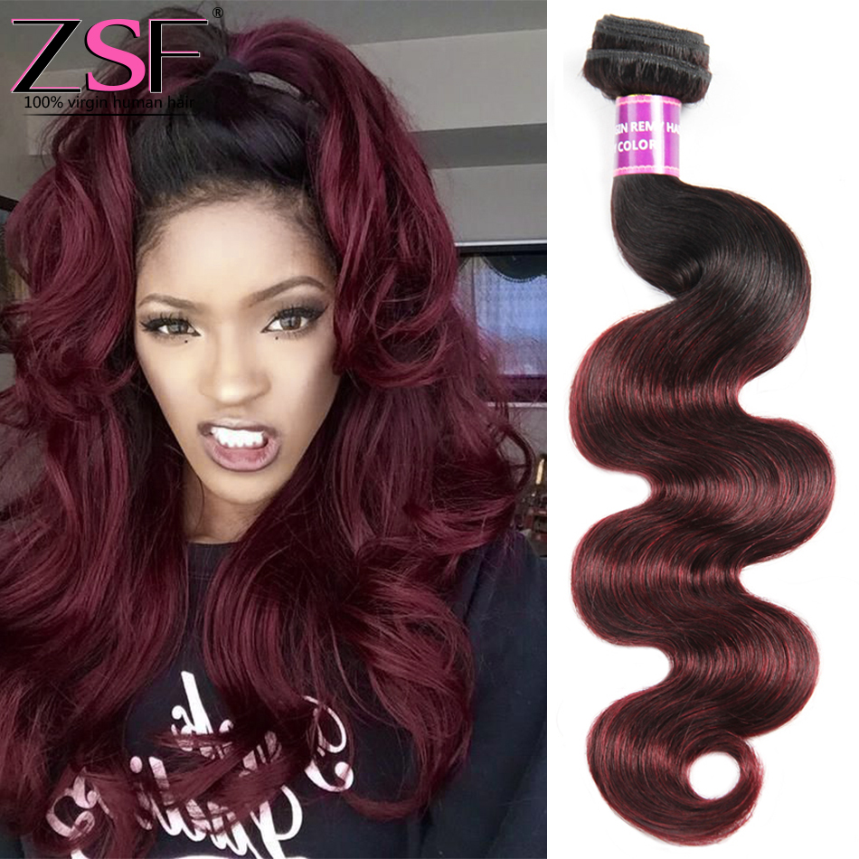 Zsf Hair Dark Root Ombre Hair Extensions 1b99j Peruvian Virgin Hair
