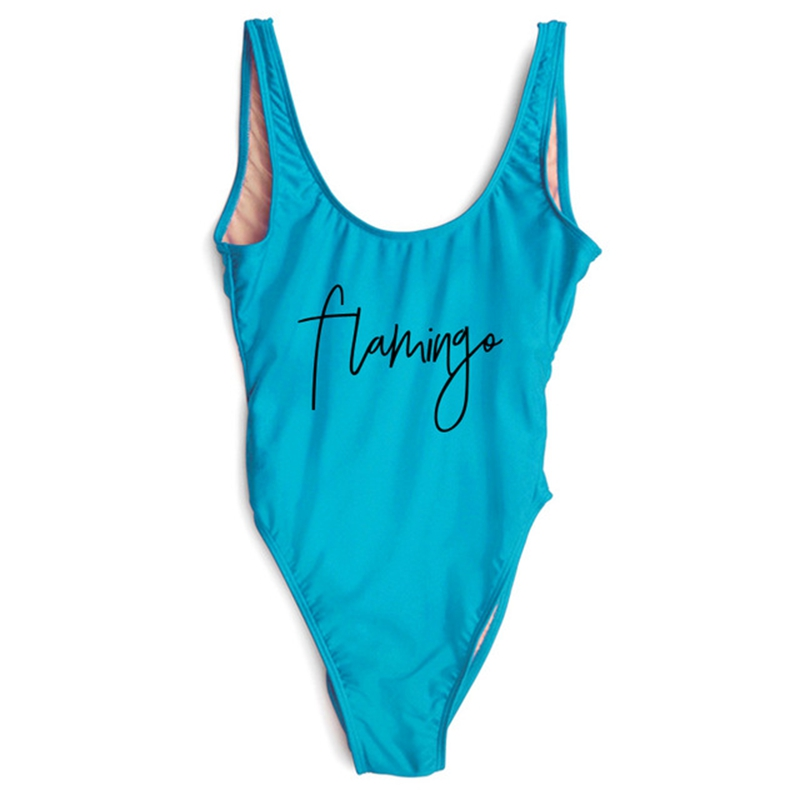 2018 High Cut Flamingo Funny Letter Print Swimsuit One Piece Women Swimwear Swim Bathing Suits Black Monokini Bodysuit Plus Size