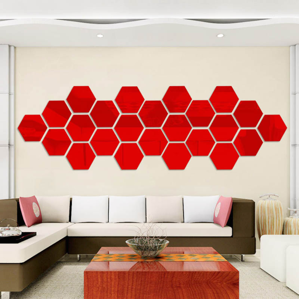12 pieces hexagonal wall decoration acrylic mirror wall for Mirror wall decoration ideas living room