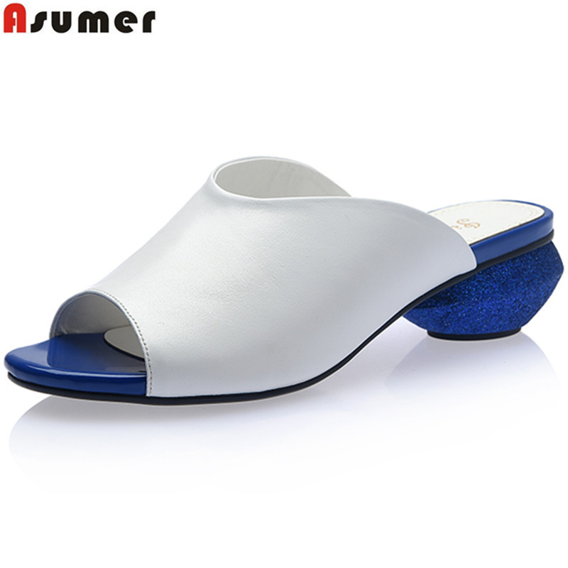 ASUMER Plus size 33 42 New genuine leather shoes women sandals peep toe round low heels