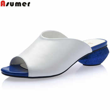 ASUMER Plus size 33-42 New genuine leather shoes women sandals peep toe round low heels summer shoes casual ladies shoes white - DISCOUNT ITEM  47 OFF Shoes