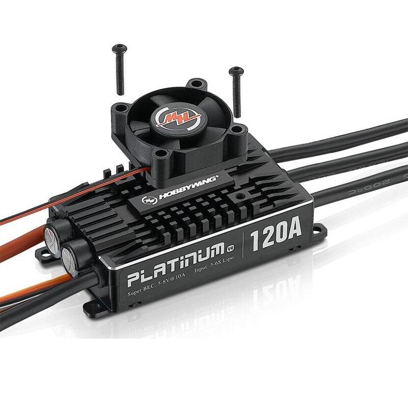 100% Original Hobbywing Platinum Pro V4 120A 3-6 S Lipo BEC sans balai ESC pour hélicoptère Drone RC