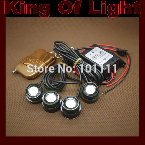 DIY 4*1.5W IP68 Strobe Flash Eagle Eyes Waterproof Eagle Eye LED Daytime Running Brake Lamps car Lights parking