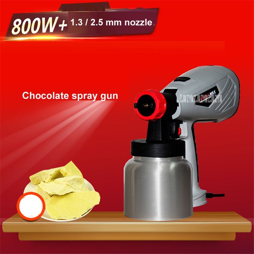 1PC commercial 800ML 800W electric spray gun removable high pressure cake chocolate tool with adjustable nozzle 1.3mm/ 2.5mm