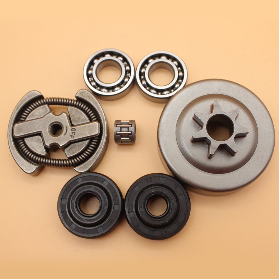 .325 Pitch 7T Clutch Drum Sprocket Rim Bearing Oil Seal Kit For PARTNER 350 351 352 370 371 390 420 Chainsaw Parts tool parts oil pump fits for part 350 351 352 370 371 390 391 chainsaw