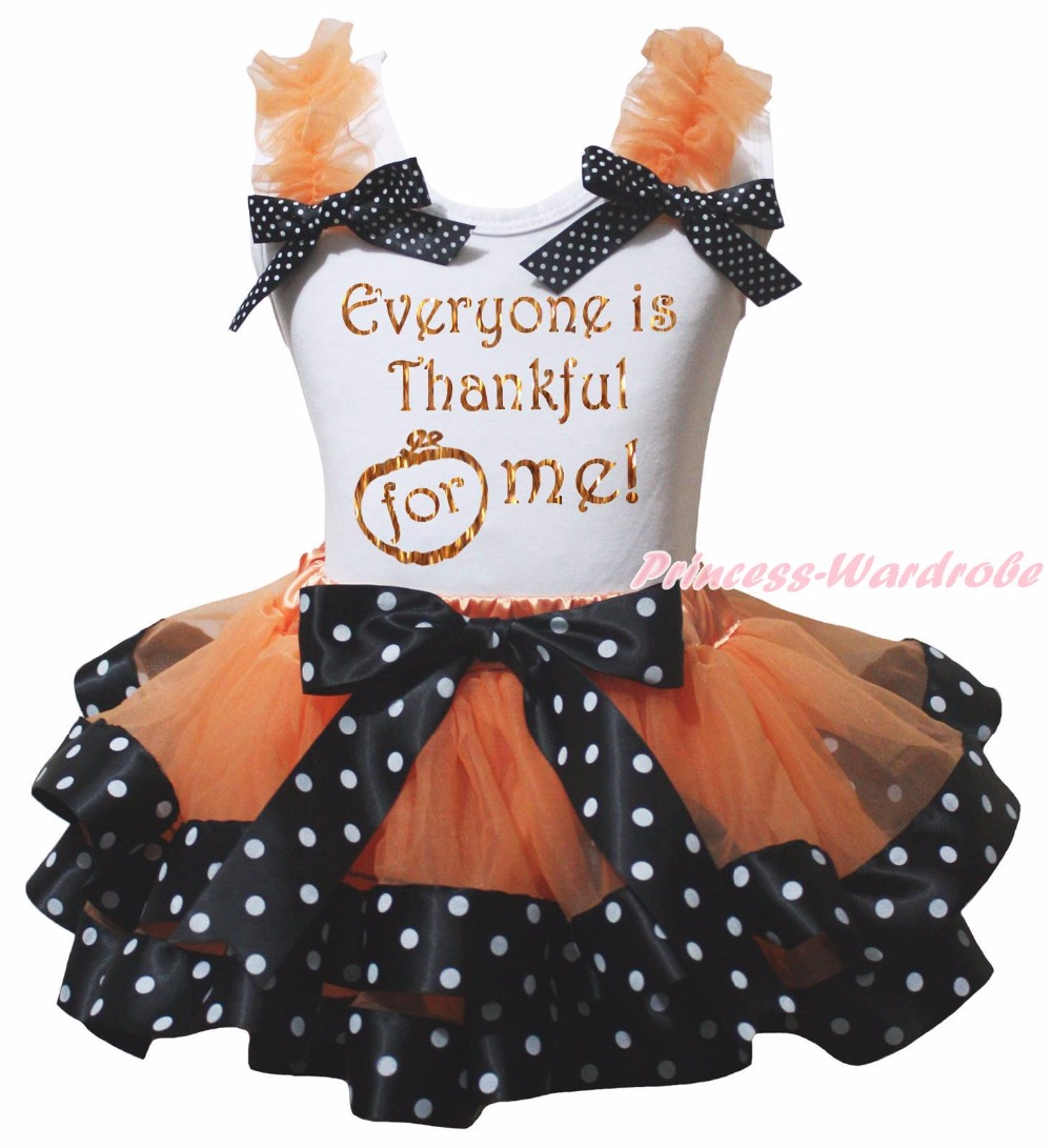 Everyone is Thankful For Me Gobble Till You Wobble Turkey Halloween Pumpkin White Shirt Dots Black Orange Petal Skirt Nb-8y страпон toyz4lovers черный bestseller 2 for me 1 for you